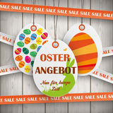 Sale Price Stickers Oster Angebot Wooden Wall Stock Image