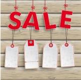 Sale 4 Price Stickers Wood Stock Photo