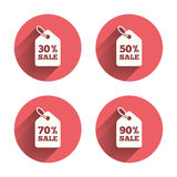 Sale price tag icons. Discount symbols. Sale price tag icons. Discount special offer symbols. 30%, 50%, 70% and 90% percent sale signs. Pink circles flat buttons royalty free illustration