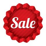 Sale price tag. Red round star sticker. Stock Photo