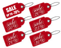 Sale, price tag red. A set of various discounts. Sign isolated on white background  Royalty Free Stock Photography