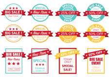 Sale price tag set vector. Round and rectangle text is outline version 10 Royalty Free Stock Image