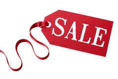 Sale price tag or ticket with red ribbon isolated on white background Royalty Free Stock Photo