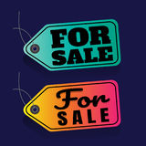 Sale. price tag. Vector . For Sale. on blue background.  Stock Photos