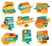 Sale price tags. Promotional supermarket discoun stickers, advertising offer banner ribbons. Paper promotion sales label vector illustration