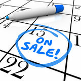 On Sale Product Release New Arrival Merchandise in Stock. On Sale words written by blue marker on a calendar day or date to illustrate when new products or Stock Images