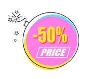 50 Sale Promo Sticker in Shape of Alight Bomb. 50 sale promo sticker in shape of bright lighted bomb vector illustration. Short-period action with half price for Stock Images