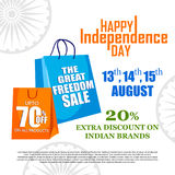 Sale Promotion and Advertisement for 15th August Happy Independence Day of India. Vector illustration of Sale Promotion and Advertisement for 15th August Happy Stock Images