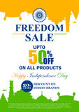 Sale Promotion and Advertisement for 15th August Happy Independence Day of India. Vector illustration of Sale Promotion and Advertisement for 15th August Happy stock illustration