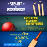 Sale and Promotion banner for Cricket season. Illustration of sale and promotion banner for cricket season Royalty Free Stock Images