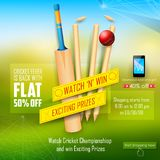 Sale and Promotion banner for Cricket season Royalty Free Stock Photo
