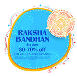 Sale and promotion banner poster with Decorative Rakhi for Raksha Bandhan, Indian festival of brother and sister bonding Stock Photo