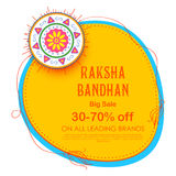 Sale and promotion banner poster with Decorative Rakhi for Raksha Bandhan, Indian festival of brother and sister bonding Royalty Free Stock Photo