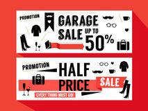Sale Promotion discount Retail Website Lay out Banner. Hipster fashion graphic element Stock Photography
