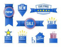 Sale promotion elements in blue Stock Photos
