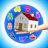 Sale and promotion. Hand open with house and colored symbols Stock Images