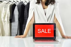 Sale promotion sign, Online shopping discount, Entrepreneur and e-business commerce royalty free stock photography