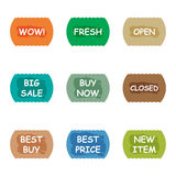 Sale promotion tear banner sticker label set Stock Image