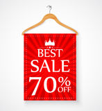 Sale promotion with wire hanger and banner Stock Photography