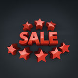 Sale promotional banner with star shapes. 3D rendering Royalty Free Stock Image