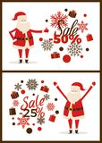 Sale -50 and -25 Posters Vector Illustration. Sale -50 and -25 promotional posters with Santa Claus happy because of offers and discounts, headlines and icons of Stock Images