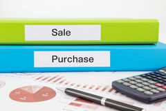 Sale and purchase documents with reports Royalty Free Stock Photos
