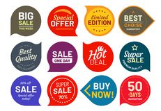 Sale quality badges. Round hundred percent assured label badge. Sticker vector illustration icons set royalty free illustration