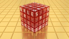 SALE röd Glass magisk kubask på guld- golv Royaltyfri Fotografi