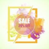 Sale -20% rabattbaner med färgrik färgstänk för vattenfärg Royaltyfri Bild