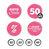 Sale rabattsymboler Tecken för pris för specialt erbjudande Arkivfoton