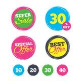 Sale rabattsymboler Tecken för pris för specialt erbjudande Fotografering för Bildbyråer