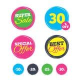 Sale rabattsymboler Tecken för pris för specialt erbjudande Arkivbild