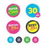 Sale rabattsymboler Tecken för pris för specialt erbjudande Royaltyfri Foto