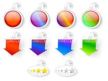 Sale, rating and discount badges Royalty Free Stock Photos