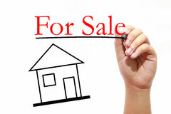 For Sale - Real Estate Concept - House with text and male hand w. House with text and male hand with pen Royalty Free Stock Image