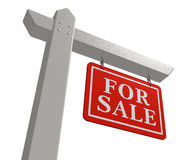 For sale real estate sign. 'For sale' real estate sign isolated over white background Royalty Free Stock Photo