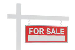 For Sale Real Estate Sign, 3D rendering. On white background Royalty Free Stock Photography