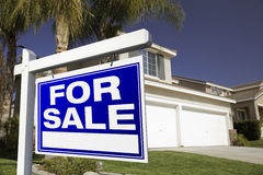 For Sale Real Estate Sign and House royalty free stock images