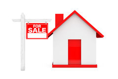 For Sale Real Estate Signs with Simple House. 3d Rendering Stock Photo