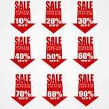 Sale red arrow banner. On grey background, clearance. 10 20 30 40 50 60 70 80 90 - off royalty free illustration