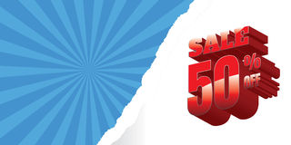 Sale. Red background and with a discount of 50 percent, vector i. Llustration Royalty Free Illustration