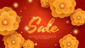 Sale red background with gold paper flowers. Royalty Free Stock Photo