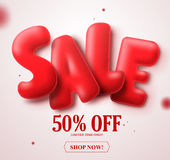 Sale red balloon 3D text vector banner design with 50% off in white Stock Image