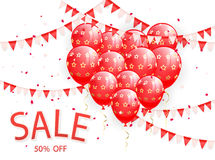 Sale with red balloons and pennants. Red balloons in the form of heart and pennants on white background with lettering Sale, illustration Royalty Free Stock Photos