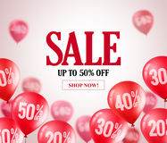 Sale red balloons vector banner. Flying red balloons with 50 percent off. In a background for store marketing promotions and events. Vector illustration Vector Illustration