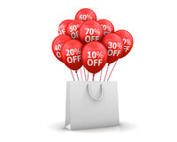 Sale. Red Baloons Sale Discounts and bag 3d rendering Royalty Free Stock Image