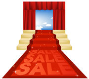 Sale red carpet. Concept of red carpet - vector illustration Stock Photo