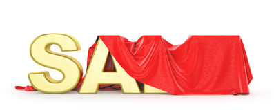 Sale. Red cloth covers sale word. 3d illustration Royalty Free Stock Photos