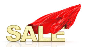 Sale. Red cloth covers sale word. 3d illustration Royalty Free Stock Images