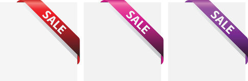 Sale red  corner ribbon Royalty Free Stock Photo